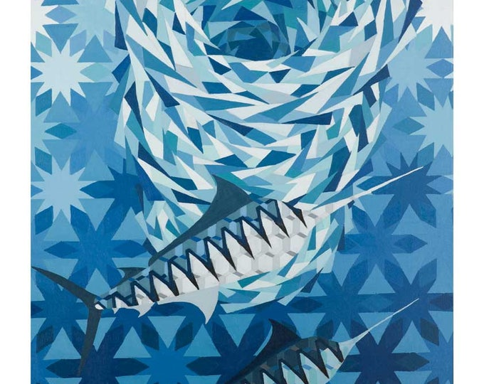 Geometric Bait Ball - original oil painting on linen canvas by Christian Turner
