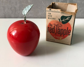 Vintage Red Apple Measuring Tape, Retro Red Apple Sewing Tape, Magnetic Sewing Tape Red Apple in Original Box