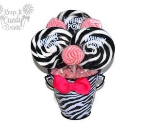 Small Zebra Lollipop Centerpiece, Sweet Sixteen Zebra Centerpiece, Bridal Shower Centerpiece, Zebra Centerpiece, Baby Shower Centerpiece