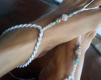 Something Blue, Bridal Barefoot Sandals, Beach Wedding Shoes, Rhinestone Foot Jewelry, 1 Pair