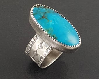 Turquoise Ring, size 7.25 ring, blue stone ring, blue turquoise ring, sterling silver. Michele Grady, natural turquoise, turquoise jewelry