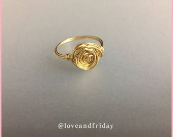 Rose Wire Wrapped Ring, Dainty Ring, Gold Rose Ring,  tarnish resistant wire ring, Gold Wire Ring, Rose Wire Ring, Rose Ring, Wire Ring