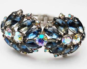 Juliana  D and E Rhinestone Clamper Bracelet -  Blueish Gray Aurora borealis Crystal - Silver hinged Bangle -  DeLizza & Elster