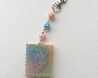Holographic Queen Rainbow Pastel Stamp Charm