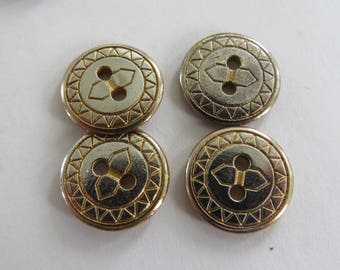 Button * vintage gold geometric (set of 4)
