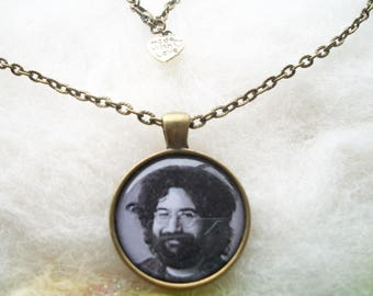 Jerry Garcia Necklace Jerry Garcia Bronze Pendant Grateful Dead Jewelry Handmade Bronze Chain Hippie Summer of Love Rock and Roll