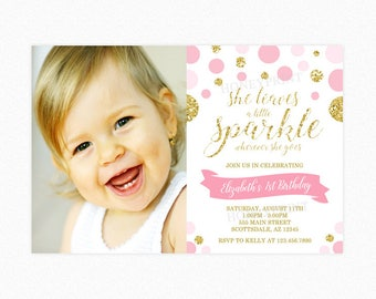 Pink and Gold Sparkle Birthday Party Invitation, She leaves a little sparkle, Gold Glitter, Pink, Polka Dot, Photo, Printable or Printed