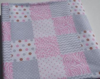 Baby Receiving Blanket, Polka Dots, Animal Print, Chevron, Pink and Grey Blocks, Large Blanket, Swaddle Blanket, Flannel Blanket, Baby Girl