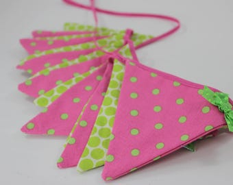 "Pink and Green Fabric Bunting, 8'6"" (2.6m) , Pink and Green Flag Banner, Wall Decor, Party Decor, Kids Decor, Baby Shower Decoration"