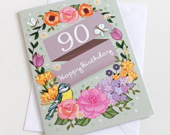 90th Birthday Card  - Large A5 - Female Birthday Card - Happy 90th Birthday - 90 - 90th Card