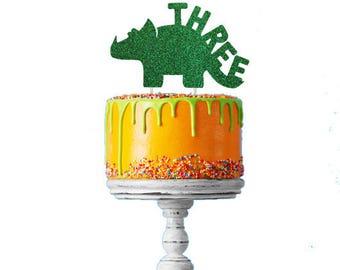 Dinosaur 3rd Birthday Cake Topper - Number Three Dinosaur Cake Topper - Glittery Green Cake Topper - Boys Cake Topper