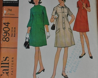 Vintage 1960s McCalls 8904 Sewing Pattern, Misses Women's Size 12 14, Bust 32 34, A Line Dress, Yoked Front, three quarter sleeves,