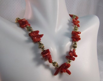 Natural Orange Branch Coral and 14kt Gold Bead Choker