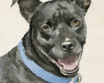 Pet Portrait Custom, Watercolor Dog Portrait, Pitbull, Original Art, Hand Painted from your Photos