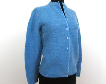 1950s-60s Wool Cardigan Sweater by Majestic - rayon edged - S-M