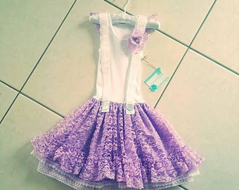 Handmade one off purple lace girls dress