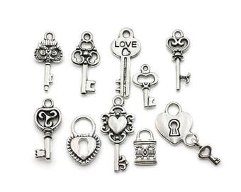 10 PCS Key Lock Love Charms  for Necklace,Pendants and Bracelet Making,DIY supplies,Jewelry Making