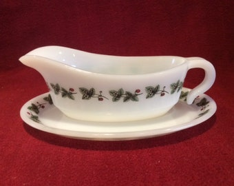 Phoenix Opalware Strawberry Gravy Boat and Saucer