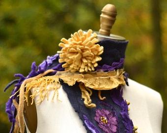 Cashmere Scarf/ Shawl, fiber art scarf, OOAK unique fantasy wrap, bohemian refashioned OOAK accessory, reclaimed cashmere scarf, felt flower