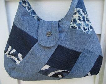 Denim purse , Upcycled denim bag , Denim shoulderbag , Quilted blue purse
