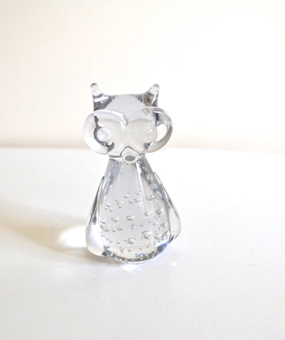 Small Vintage Blown Glass Owl