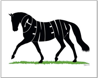 """Hanoverian Warmblood Horse (OR ANY BREED) 10"""" x 8"""" (or larger) Personalized Gift, Name Art, Horse Portrait, Silhouette"""