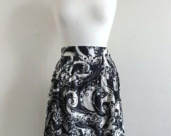 Vintage Edie Psychedelic Swirl Skirt | 1960s Full Skirt | Small Medium