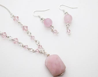 Pink glass and stone necklace and earrings