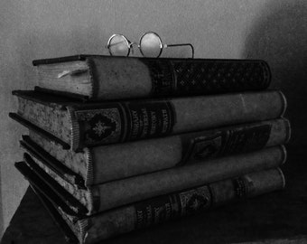 Black and White Stack of Books Print
