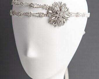 Bridal Headband, Crystal Wedding Headband, Bridal Hair Accessories, Art Deco Snowflake Flower Hairband, Silk Ribbon Rhinestone Halo, CLODIA