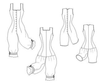 Victorian Underwear Pattern: Combinations Multi Sized Sewing Pattern 1880s & 1890s, by the Mantua Maker. 1880-8