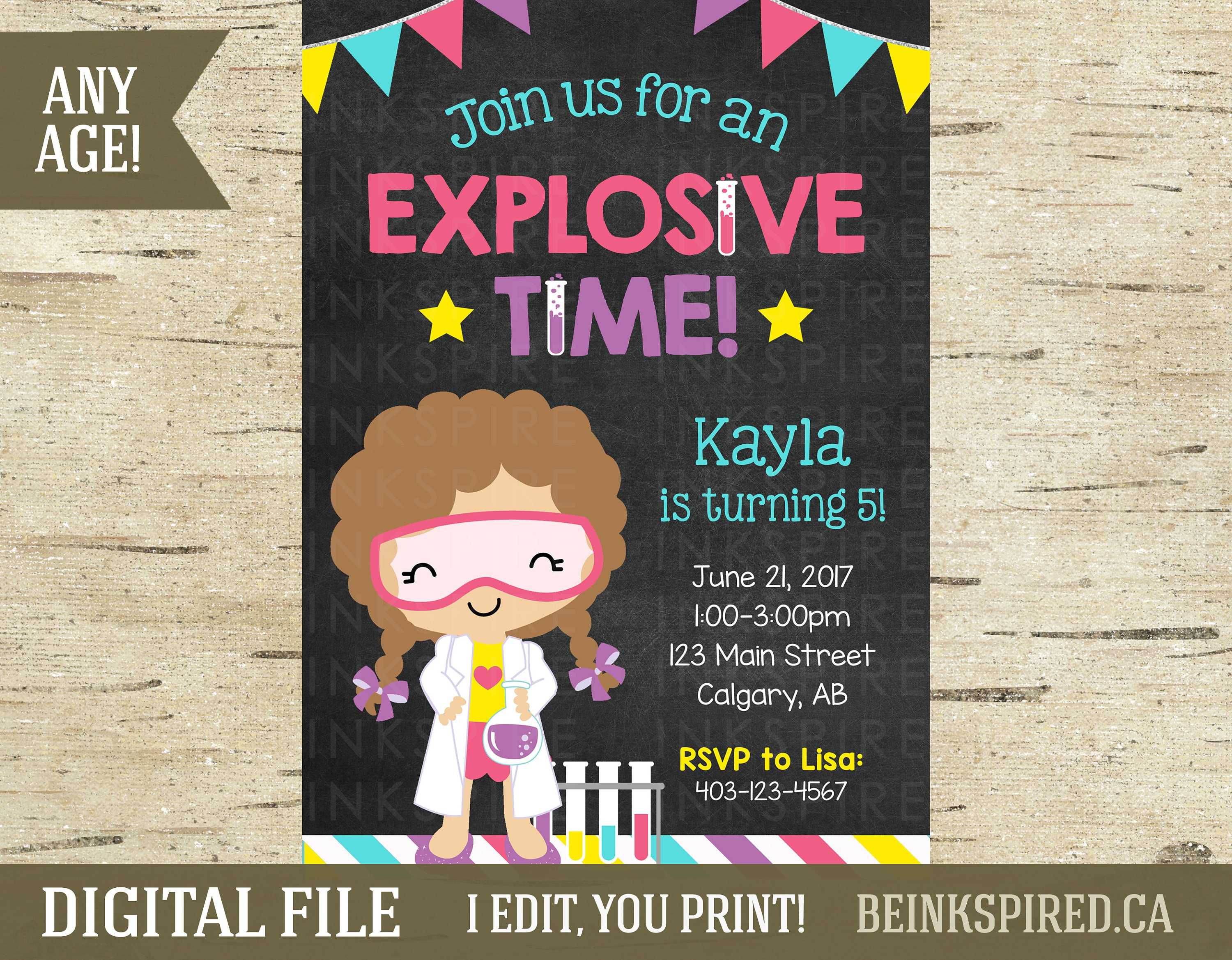 Girl Science Birthday Invitation Science Party Science