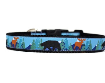 1 Inch Wide Dog Collar with Adjustable Buckle or Martingale in Into the Wild