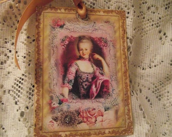 Marie Antoinette Gift Tags Adorn With Satin Gold Ribbon Shabby Chic Style