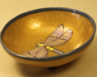 Dragonfly Bowl in Gold with Blue Rim and Feet