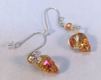 Bronze Crystal Skull Earrings| Pink Face on Swarovski Skull| Astral Pink Skull| Wedding Earrings|