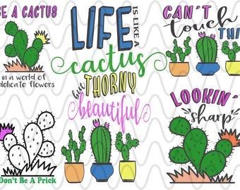 Cactus Bundle Can't touch this, cactus,  aztec, southwest SVG Design File, Cut File Silhouette and Cricut