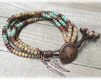 Native American Leather Bracelet/ Seed Bead Leather Wrap Bracelet/ Boho Beaded Leather Wrap/ Leather And Seed Wrap Bracelet/ Southwestern.