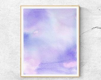 Blue Purple Watercolor Print, Abstract Watercolor Art Print, Calming Art, Abstract Sky, Blue Abstract Art,Modern Art, Fine Art Print