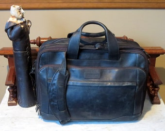 Dads Grads Sale Hartmann Black Leather Soft Side Briefcase With Cross Body Strap Bag Made In U.S.A. - Very Good Condition- Get Organized!