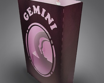 Gemini Zodiac box card with envelope template