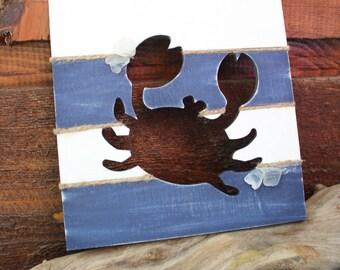 Crab Wall Hanging , Beach Decor , Nautical Nursery Art , Americana , Maine Home Decor , Shore Art