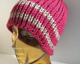 Red handknit ribbed fitted beanie, Striped red fisherman ribbed hat, Handmade ribbed hat, Handcrafted striped ribbed beanie