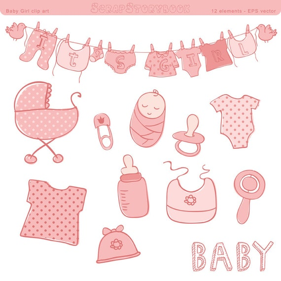 baby shower clip art girl eps vector file pastel pink rh etsy com baby shower clipart girl free Black Baby Girl Clip Art