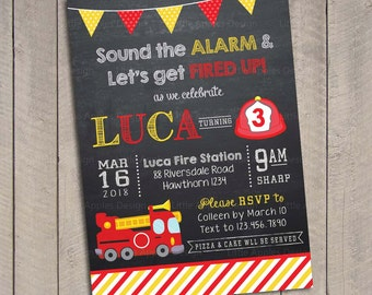 Fire Truck Invitation / Firetruck Invitation / Fire truck birthday invitation / Firetruck birthday invitation / Fireman invitation