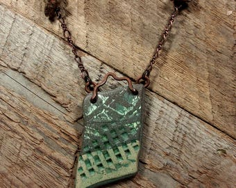 One of a Kind Handmade Two Part Necklace, Textured Clay Shard Pendant, Copper Chain, Found Fossilized Stones, Copper Lobster Claw Closures