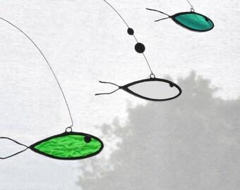 Fish suncatcher,Beach home decor,Glass suncatcher,Stained glass,Green mobile,Art mobile,Fish mobile,Nursery mobile,Kids room decor,Ocean art