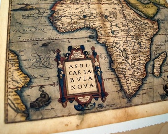 """Africa - Antique Map Print on Eco Bamboo paper with textured edge - Made in Canada! 8.5"""" x 11"""" & 11"""" x 17"""""""