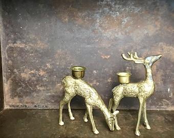 Vintage Set of 2 Brass Deer Candlestick Holders