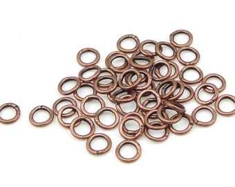 50 Copper 4mm CLOSED Jump Rings - 21 Gauge Soldered Shut Aged Solid Copper - Antique Copper Findings (FSAC21)